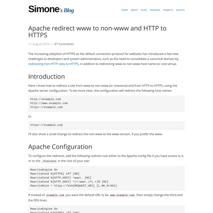 Apache redirect www to non-www and HTTP to HTTPS — Simone Carletti