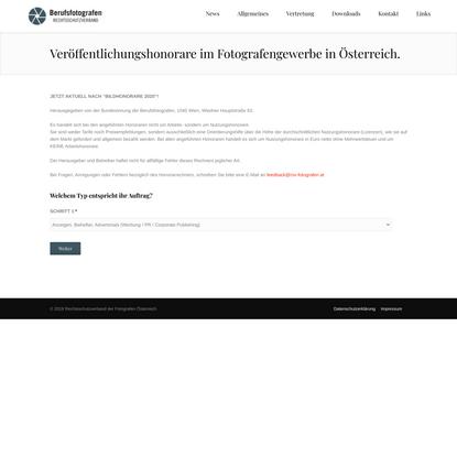 Veröffentlichungshonorare im Fotografengewerbe in Österreich. | Rechtsschutzverband der Berufsfotografen Österreichs | RSV