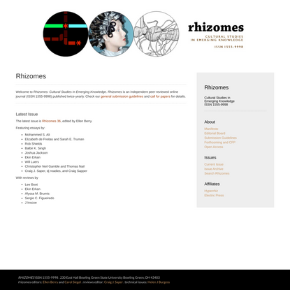 Rhizomes: Cultural Studies in Emerging Knowledge