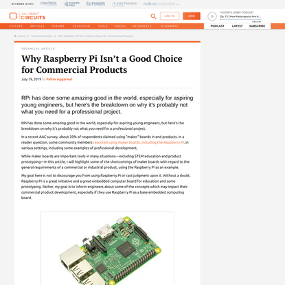 Why Raspberry Pi Isn't a Good Choice for Commercial Products - Technical Articles