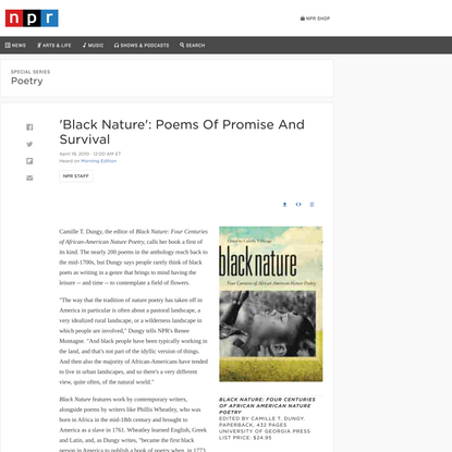 'Black Nature': Poems Of Promise And Survival