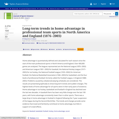 Long-term trends in home advantage in professional team sports in North America and England (1876 – 2003)