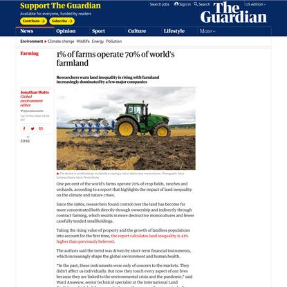 1% of farms operate 70% of world's farmland