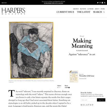 [Essay] Making Meaning, By Garth Greenwell | Harper's Magazine