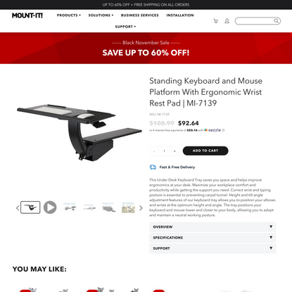 Standing Keyboard and Mouse Platform With Ergonomic Wrist Rest Pad   MI-7139
