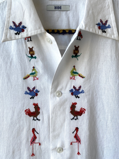 Bode Cross Stitch Bird Long Sleeve Shirt