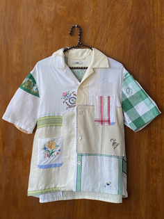 Bode Gingham Embroidered Napkin Shirt
