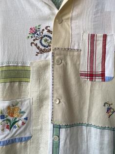 Bode Gingham Embroidered Napkin Shirt