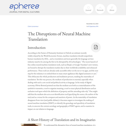 The Disruptions of Neural Machine Translation – spheres