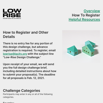 How To Register - Low-Rise: Housing Ideas for Los Angeles