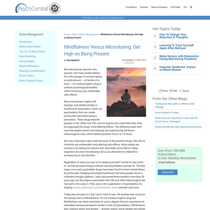 Mindfulness Versus Microdosing: Get High on Being Present