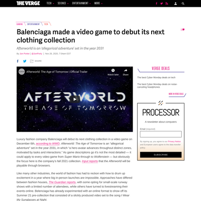 Balenciaga made a video game to debut its next clothing collection