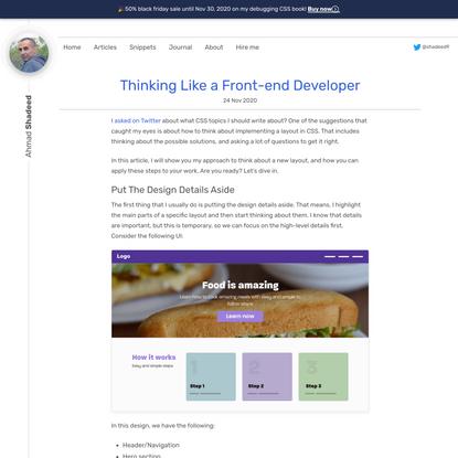 Thinking Like a Front-end Developer - Ahmad Shadeed