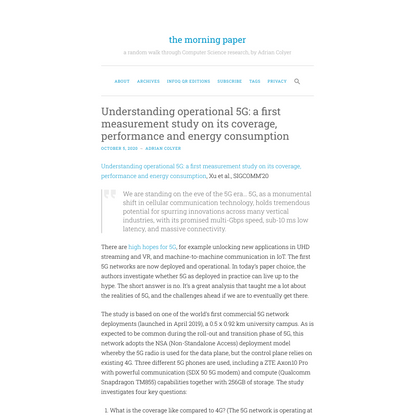Understanding operational 5G: a first measurement study on its coverage, performance and energy consumption   the morning paper