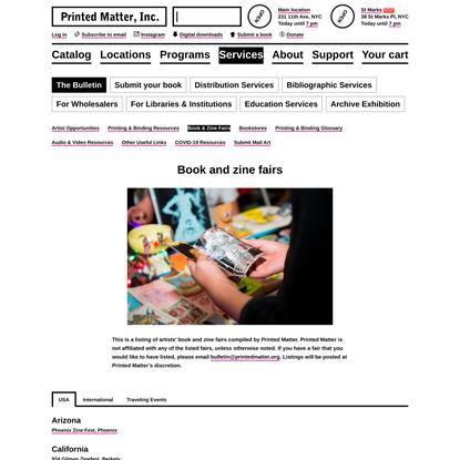 Book And Zine Fairs - Printed Matter