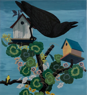 Kerry James Marshall, Black and part Black Birds in America: (Crow, Goldfinch), 2020