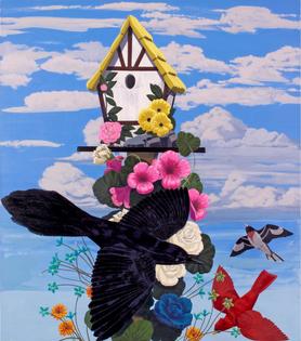 Kerry James Marshall, Black and part Black Birds in America: (Grackle, Cardinal & Rose-breasted Grosbeak) (2020)