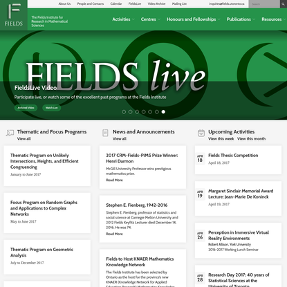 Fields Institute for Research in Mathematical Sciences