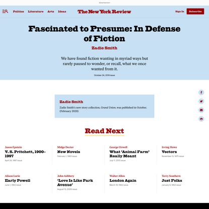 Fascinated to Presume: In Defense ofFiction