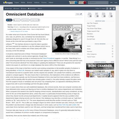 Omniscient Database - TV Tropes