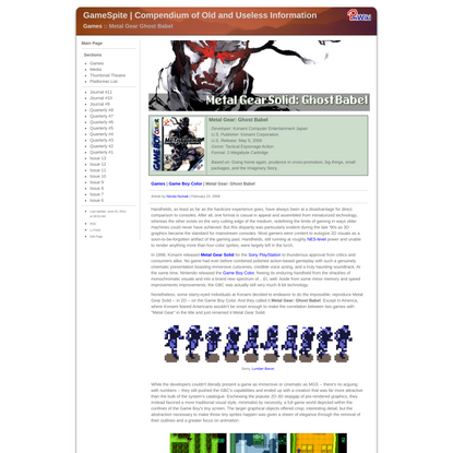 GameSpite | Compendium of Old and Useless Information : Games - Metal Gear Ghost Babel browse