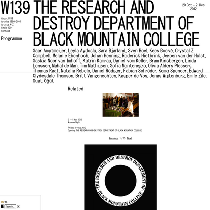 W139 - THE RESEARCH AND DESTROY DEPARTMENT OF BLACK MOUNTAIN COLLEGE