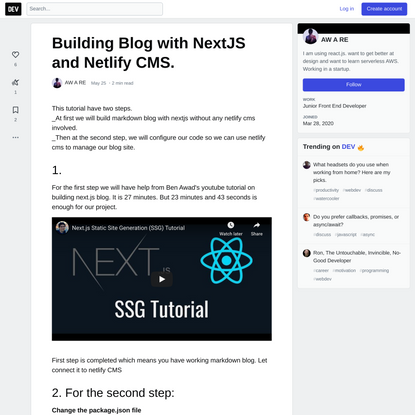 Building Blog with NextJS and Netlify CMS.