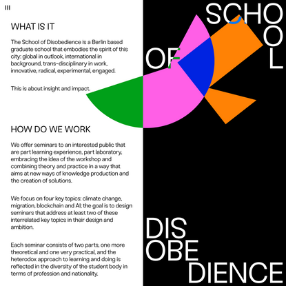 About — School of Disobedience