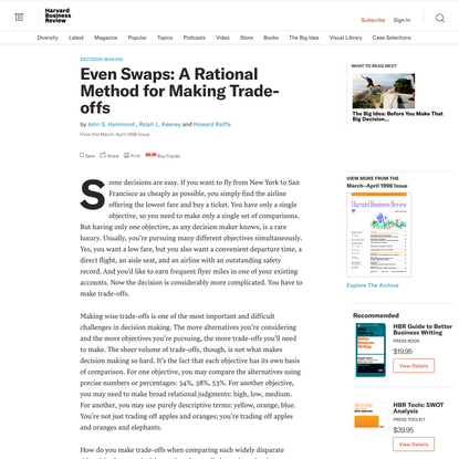 Even Swaps: A Rational Method for Making Trade-offs