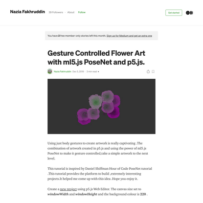 Gesture Controlled Flower Art with ml5.js PoseNet and p5.js.