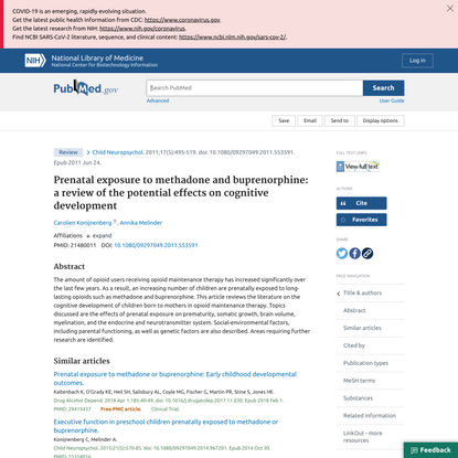 Prenatal exposure to methadone and buprenorphine: a review of the potential effects on cognitive development - PubMed
