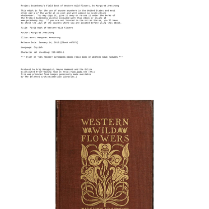Field Book of Western Wildflowers, by Margaret Armstrong--a Project Gutenberg eBook