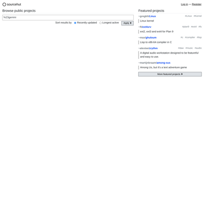 Browse projects on sourcehut