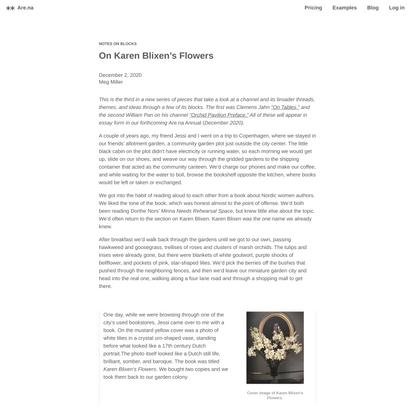 On Karen Blixen's Flowers — Are.na