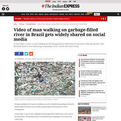 Video of man walking on garbage-filled river in Brazil gets widely shared on social media