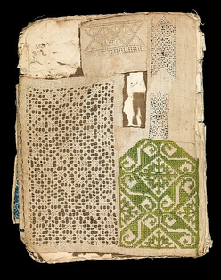 Booklet of embroidery and drawnwork (early 17th century). Probably Portugese.  Linen, silk, leather, paper.