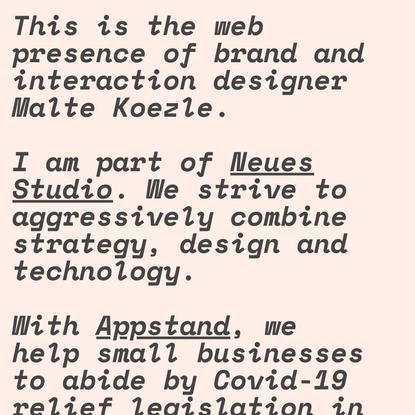 Malte Koezle – Brand and Interaction Design