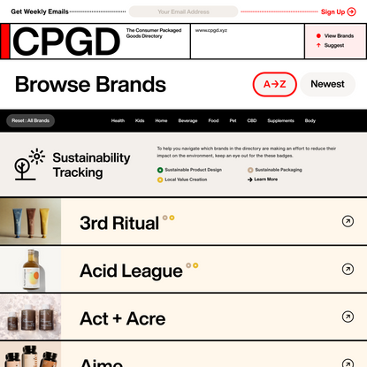 CPGD.XYZ — The Consumer Packaged Goods Directory — Browse All