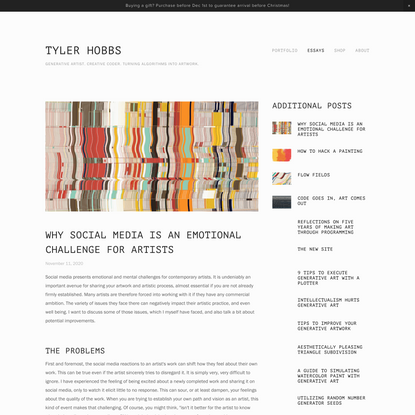 Why Social Media Is an Emotional Challenge for Artists — TYLER HOBBS
