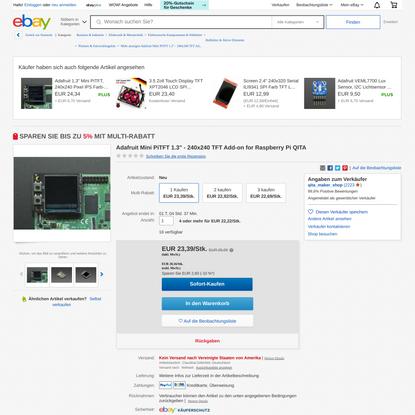 Adafruit Mini PiTFT 1.3″ - 240x240 TFT Add-on for Raspberry Pi QITA | eBay