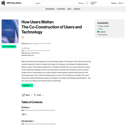 How Users Matter: The Co-Construction of Users and Technology | Books Gateway | MIT Press
