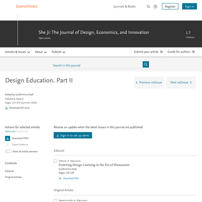 She Ji: The Journal of Design, Economics, and Innovation | Design Education. Part II | ScienceDirect.com by Elsevier