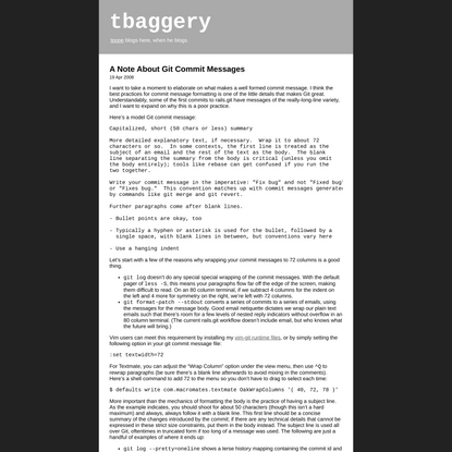 tbaggery - A Note About Git Commit Messages