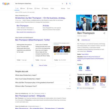 ben thompson stratechery - Google Search