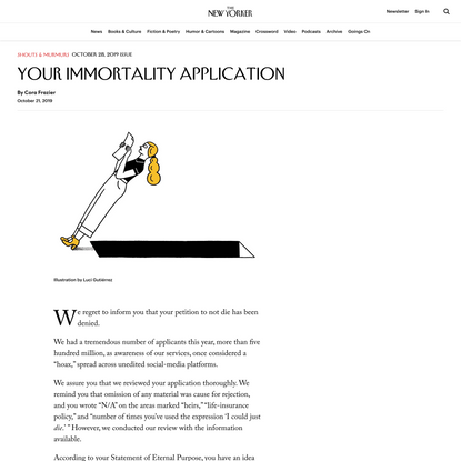 Your Immortality Application