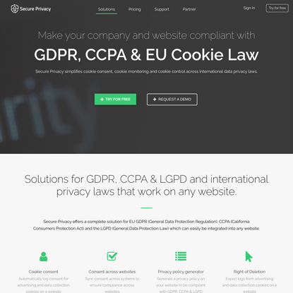 Secure Privacy: GDPR, CCPA, LGPD & cookie compliance solution