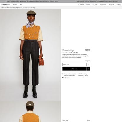 Flared pinstripe trousers Navy/orange