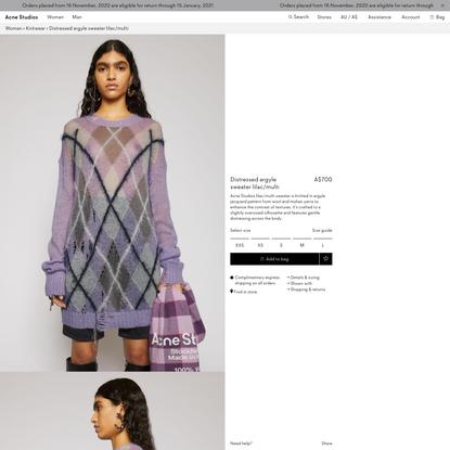 Distressed argyle sweater Lilac/multi