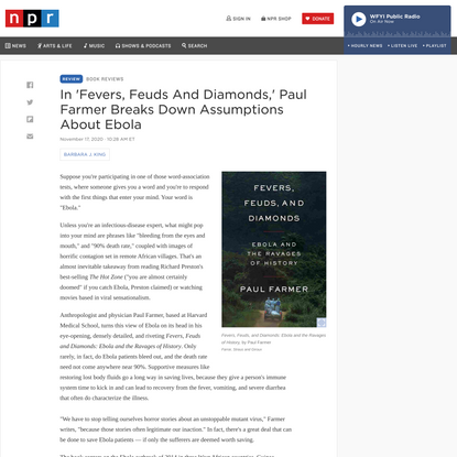 In 'Fevers, Feuds And Diamonds,' Paul Farmer Breaks Down Assumptions About Ebola