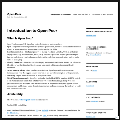 Introduction to Open Peer